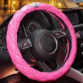 Super Cute And Bright Color Leatherette Material Medium Type Steering Wheel Cover