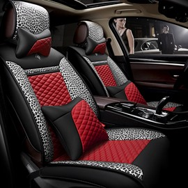 Leopard Series Charming Mixed Color Mirofiber Leatherette Universal Five Car Seat Cover