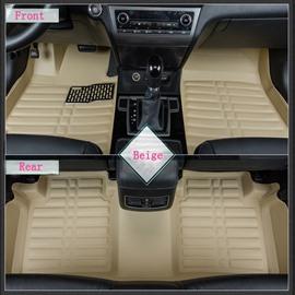 Beige Solid Charming Anti-Dust Popular PU Leather Dedicated Car Carpet