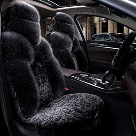 Pure Plush Attractive Black Special Design Warm Winter Universal Car Seat Cover