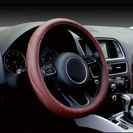 Fashion Solid Color Design Sewing Process Leather Medium Car Steering Wheel Cover