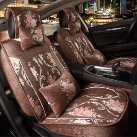 Beautiful Floral Pattern With Exquisite Craft Design Flax Universal Car Seat Cover