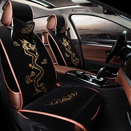 Gold Dragon With Clouds Embroidery Crafts Suede Universal Car Seat Cover