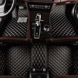 Luxuriously Designed Grid Pattern PU Leather Custom Fit Car Floor Mats