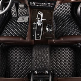 Clssic Business Black Grid Style Brake Pedal Custom-Made Leather Car Floor Mats
