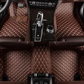 Classic Custom-Made Grid Line Design Fashion Coffee Color Dedicated Car Carpet