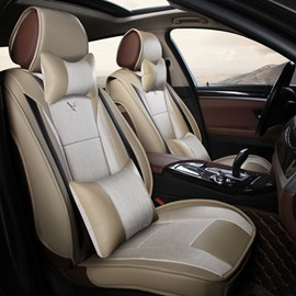 High Cost-Effective Luxury PU Leatherette With Flax Mixed Popular Universal Five Car Seat Cover