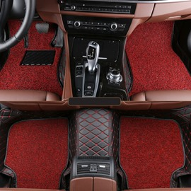 Charming Red Custom-Fit New Double Layer High Grade Leather Car Carpet