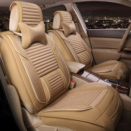 New Hot 3D Stereo Design PU And Flax Mixing Comfortable Universal Car Seat Cover