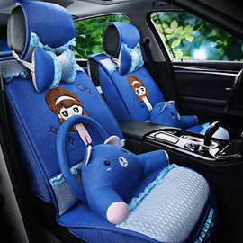 Lovely Girl Pattern With Fashion Print Creative Cartoon Cute Pillow Universal Car Seat Cover