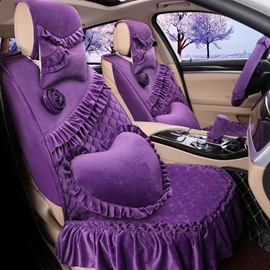 Super Beautiful And Popular Princess Wind Soft Velvet Suede Universal Car Seat Cover