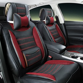 ColorfulTough Soft PVC Leather With Ice Silk Luxury Universal Car Seat Cover