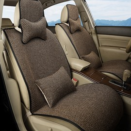 Good Textured And Permeability Flax Material Fast Heat Dissipation Universal Five Car Seat Cover