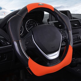 Fashion 3D Effect Real Leather Material Sport Style Medium Car Steering Wheel Cover