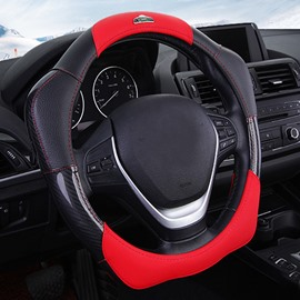 New Fashion 3D Effect Real Leather Material Sport Style Increase Friction Medium Car Steering Wheel Cover