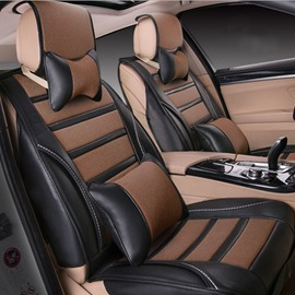 Coffee With Classic Mixing Unique Design PU And Ice Silk Material Universal Car Seat Cover