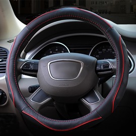 Beautiful Contrast Color Design Durable PU Leather Material Universal Car Steering Wheel Cover