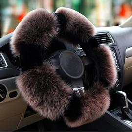 Popular Winter Autumn Long Wool Material Warm Medium Car Steering Wheel Cover