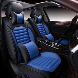 Black With Blue Color Mixing Sport Style Design Universal Five Car Seat Cover