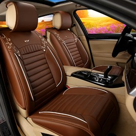 Classic Coffee Business Design Popular Cost-Effective PU Leather Material Five Universal Car Seat Cover