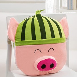Lovely Cartoon Watermelon Piglets Pattern Design Three Kinds Of Use Multi-Functional Car Pillow