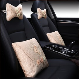 Beautiful Floral Flower Pattern Embroidery Craft Design 1-Pair Headrest And 1-Pair Lumbar Car Pillow