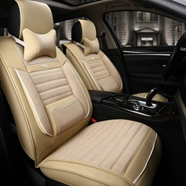 New Fashion Solid Beige Color Durable PET Material Universal Car Seat Cover