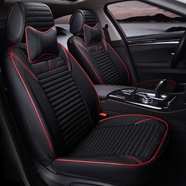 Charming Black Style With Good Permeability Flax Material Universal Five Car Seat Cover