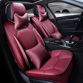 Bright Red Solid Design Strong 3D Visual Effect Durable PU Universal Five Car Seat Cover