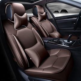Classic Coffee Solid Design Strong 3D Visual Effect Durable PU Universal Five Car Seat Cover