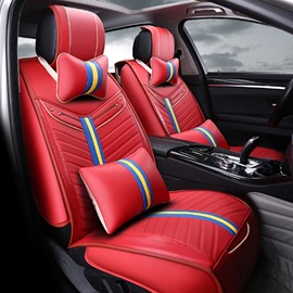 Bright Fresh Red Charming Color PU Leather Material Universal Five Car Seat Cover