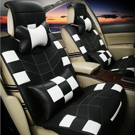 White Grid Style Pattern Design With Friction Resistance PU Leather Material Universal Five Car Seat Cover