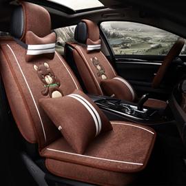 Classic Fashion Cartoon Bear Pattern Coffee Luxury Universal Car Seat Cover