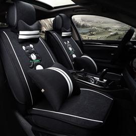 Classic Fashion Cartoon Bear Pattern Black Luxury Universal Car Seat Cover