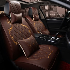 Classic Grid Design With Beautiful Gold Lines Decoration Popular Durable PU Leather Material Universal Five Car Seat Cover