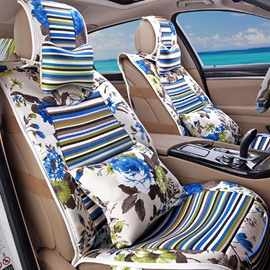 Attractive Blue Folral Style Design Good Permeability Flax Material Universal Five Car Seat Cover