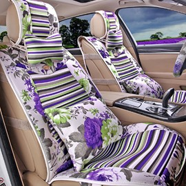 Attractive Beautiful Folral Style Design Good Permeability Flax Material Universal Five Car Seat Cover