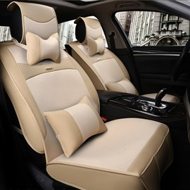 Simple Beige Style Fashion Design Luxury Durable PET Material Universal Five Car Seat Cover