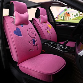 Charming Pink Style Creative Cartoon Love Theme Durable PET Material Universal Five Car Seat Cover