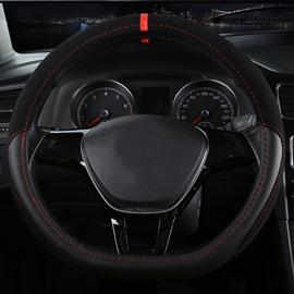 High-Grade Luxury D-Type Microfiber Leather Material Medium Sport Car Steering Wheel Cover