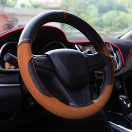 Comfortable And Classical Contrast Color Design Short Plush Material Anti-Skidding Steering Wheel Covers