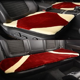 Front And Rear 3-Pieces Short Plush Material Soft Universal Car Seat Mat