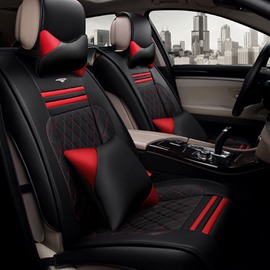 High-Grade Red Black Contrast Color Durable PU Ice Silk Material Mixing Universal Car Seat Cover