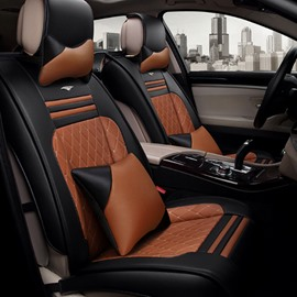 Classic Business Style High-Grade Contrast Color Mixing Durable PU Leather Material Universal Car Seat Cover