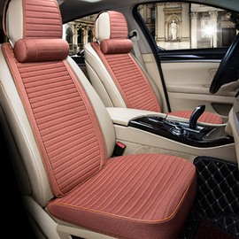 Textured Fashion Orange Design With Good Permeability Flax Material Universal Car Seat Cover