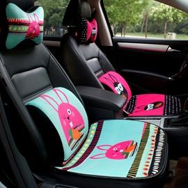 Cute Rabbit Cartoon Pattern 1-Pair Headrest Pillow And Single Lumbar Pillow Combination Car Pillow