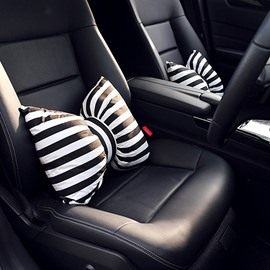 Beautiful Black And White Stripes Bow Design 1-Piece Lumbar Car Pillow