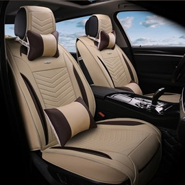 3D Stereoscopic Type Design Durable PU Leather Material High-Grade Universal Five Car Seat Cover