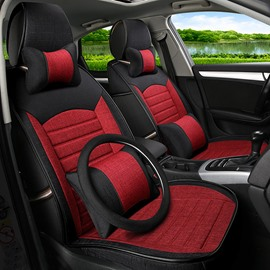 Charming Red Cost-Effective PET Material Popular Universal Five Car Seat Cover