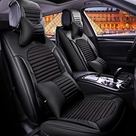 Classic Business Black Solid Design Durable PU And Nylon Mixing Universal Five Car Seat Cover